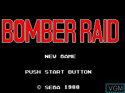Title screen of the game Bomber Raid on Sega Master System