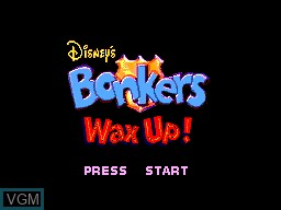 Title screen of the game Bonkers Wax Up! on Sega Master System