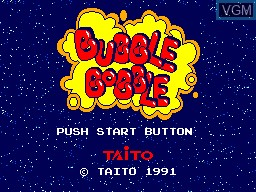 Title screen of the game Bubble Bobble on Sega Master System