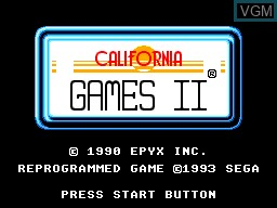 Title screen of the game California Games II on Sega Master System