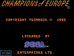 Title screen of the game Champions of Europe on Sega Master System