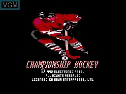 Title screen of the game Championship Hockey on Sega Master System