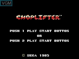 Title screen of the game Choplifter on Sega Master System