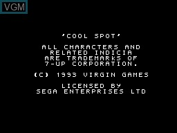 Title screen of the game Cool Spot on Sega Master System
