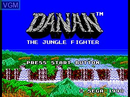 Title screen of the game Danan the Jungle Fighter on Sega Master System