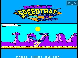 Title screen of the game Desert Speedtrap - Starring Road Runner and Wile E. Coyote on Sega Master System