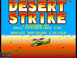 Title screen of the game Desert Strike on Sega Master System