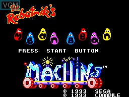 Title screen of the game Dr. Robotnik's Mean Bean Machine on Sega Master System