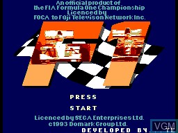 Title screen of the game F1 Championship on Sega Master System