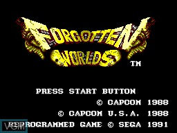 Title screen of the game Forgotten Worlds on Sega Master System