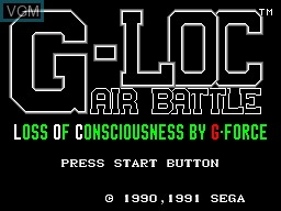 Title screen of the game G-Loc Air Battle on Sega Master System