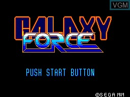 Title screen of the game Galaxy Force on Sega Master System