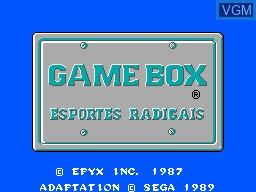 Title screen of the game Game Box Esportes Radicais on Sega Master System