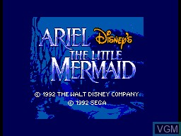Title screen of the game Ariel - The Little Mermaid on Sega Master System
