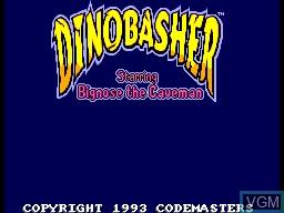 Title screen of the game Dinobasher - Starring Bignose the Caveman on Sega Master System