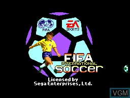 Title screen of the game FIFA International Soccer on Sega Master System