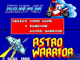 Title screen of the game Hang-On & Astro Warrior on Sega Master System