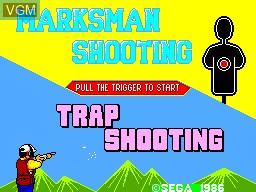 Title screen of the game Marksman Shooting - Trap Shooting on Sega Master System