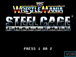 Title screen of the game WWF Wrestlemania Steel Cage Challenge on Sega Master System