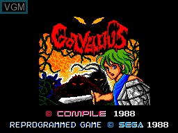 Title screen of the game Golvellius - Valley of Doom on Sega Master System