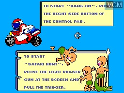 Title screen of the game Hang-On & Safari Hunt on Sega Master System