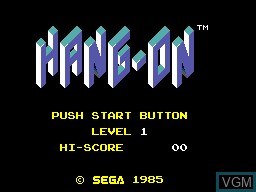 Title screen of the game Hang-On on Sega Master System