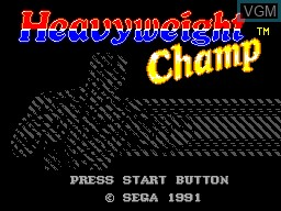 Title screen of the game Heavyweight Champ on Sega Master System