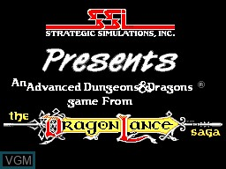 Title screen of the game Heroes of the Lance on Sega Master System