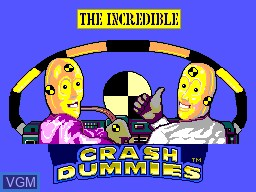 Title screen of the game Incredible Crash Dummies, The on Sega Master System
