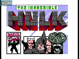 Title screen of the game Incredible Hulk, The on Sega Master System