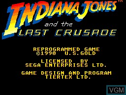 Title screen of the game Indiana Jones and the Last Crusade on Sega Master System