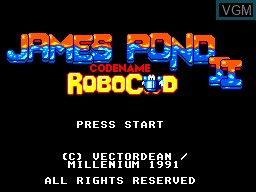 Title screen of the game James Pond 2 - Codename Robocod on Sega Master System