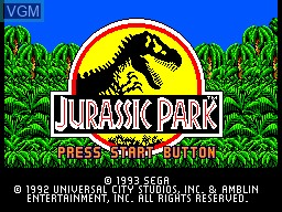 Title screen of the game Jurassic Park on Sega Master System