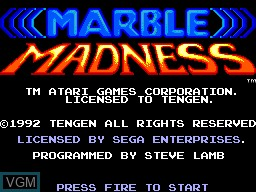 Title screen of the game Marble Madness on Sega Master System