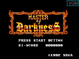 Title screen of the game Master of Darkness on Sega Master System