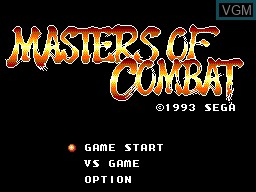 Title screen of the game Masters of Combat on Sega Master System