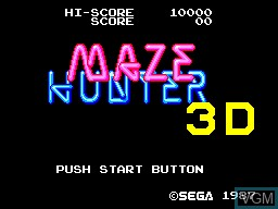 Title screen of the game Maze Hunter 3D on Sega Master System