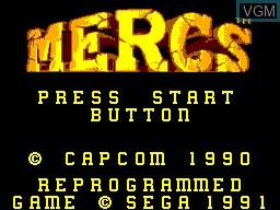 Title screen of the game Mercs on Sega Master System