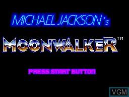 Title screen of the game Michael Jackson's Moonwalker on Sega Master System