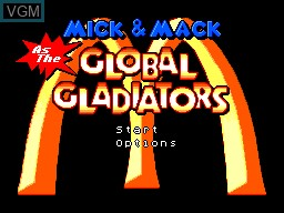 Title screen of the game Mick & Mack as The Global Gladiators on Sega Master System