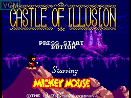 Title screen of the game Castle of Illusion Starring Mickey Mouse on Sega Master System