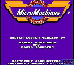 Title screen of the game Micro Machines on Sega Master System