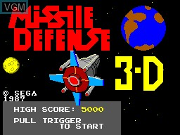 Title screen of the game Missile Defense 3-D on Sega Master System