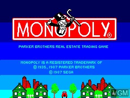 Title screen of the game Monopoly on Sega Master System