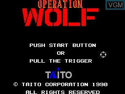 Title screen of the game Operation Wolf on Sega Master System