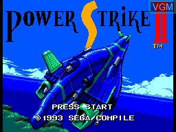 Title screen of the game Power Strike 2 on Sega Master System