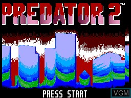 Title screen of the game Predator 2 on Sega Master System