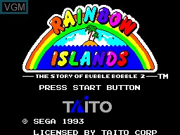 Title screen of the game Rainbow Islands on Sega Master System