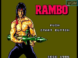 Title screen of the game Rambo - First Blood Part 2 on Sega Master System