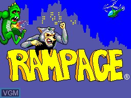 Title screen of the game Rampage on Sega Master System